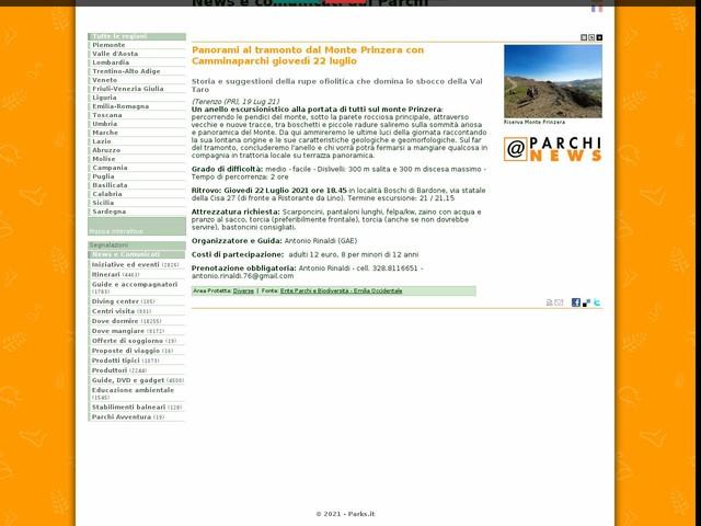 Ente Parchi e Biodiversità - Emilia Occidentale - Panorami al tramonto dal Monte Prinzera con Camminaparchi giovedì 22 luglio