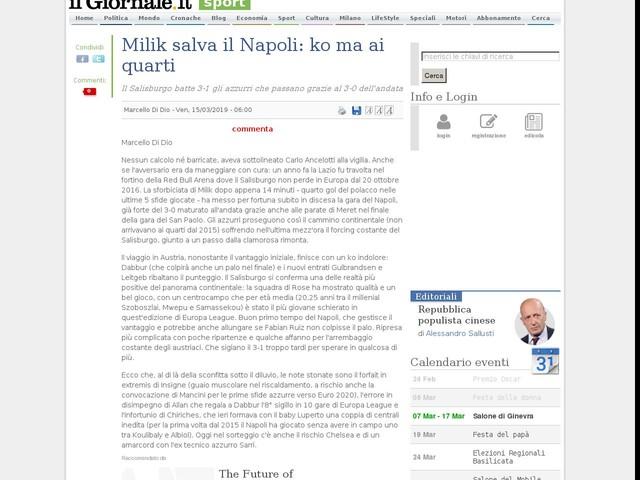 Milik salva il Napoli: ko ma ai quarti