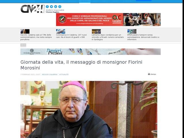 Giornata della vita, il messaggio di monsignor Fiorini Morosini
