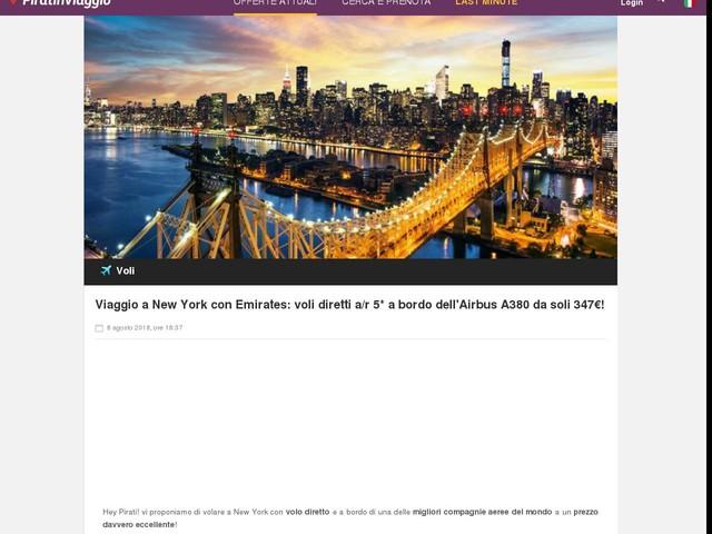 Viaggio a New York con Emirates: voli diretti a/r 5* a bordo dell'Airbus A380 da soli 347€!