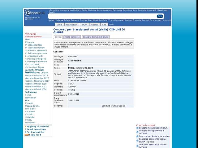 Assistente sociale - CATANIA - 6 posti