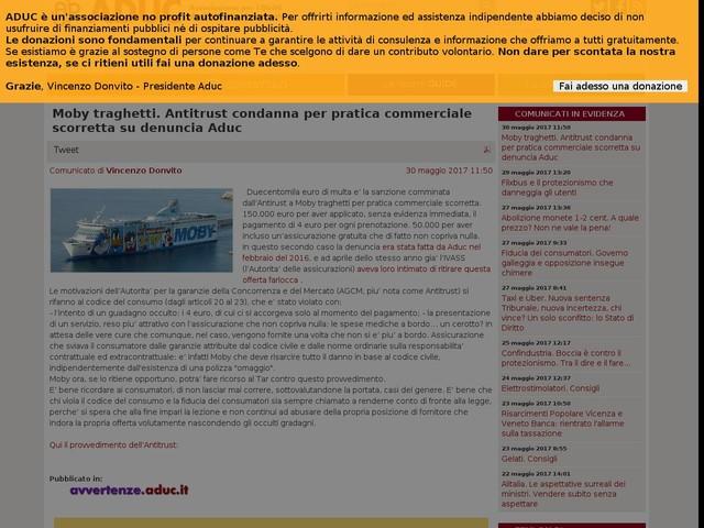Moby traghetti. Antitrust condanna per pratica commerciale scorretta su denuncia Aduc