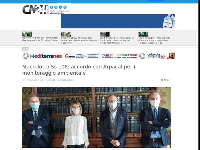 Macrolotto Ss 106: accordo con Arpacal per il monitoraggio ambientale