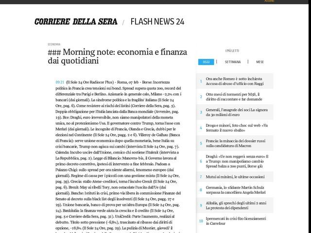 ### Morning note: economia e finanza dai quotidiani