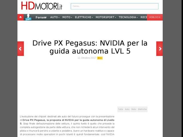 Drive PX Pegasus: NVIDIA per la guida autonoma LVL 5