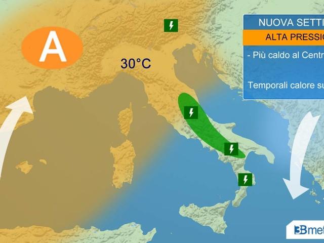 METEO - Inizio settimana con SOLE e CALDO, isolati TEMPORALI di calore sui rilievi