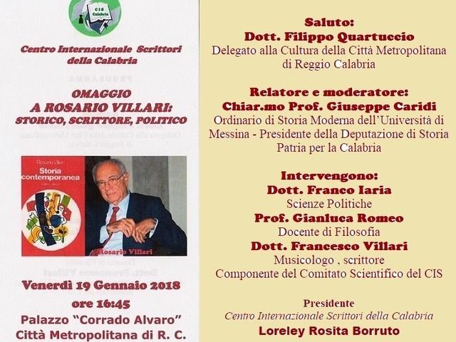 Reggio Calabria, omaggio a Rosario Villari: storico, scrittore e politico