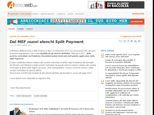 Dal MEF nuovi elenchi Split Payment