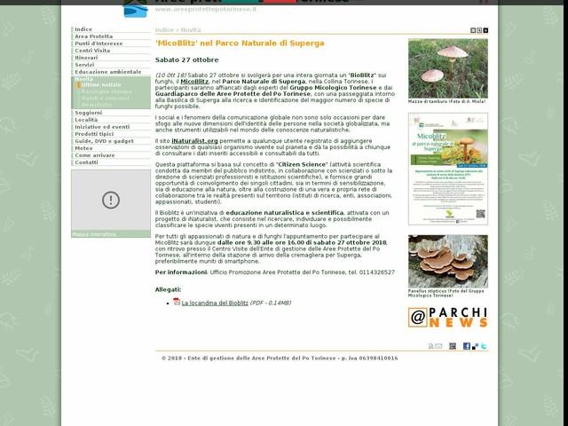 Aree Protette Po Torinese - 'MicoBlitz' nel Parco Naturale di Superga
