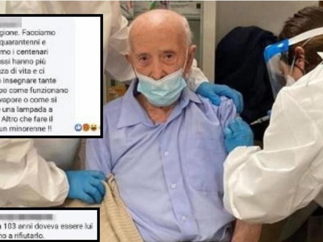 """Vaccinato a 103 anni, nel mirino degli haters sui social: """"Poteva lasciarlo ad altri, una dose sprecata"""""""