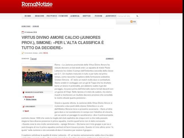 Virtus Divino Amore calcio (Juniores prov.), Simone: «Per l'alta classifica è tutto da decidere»
