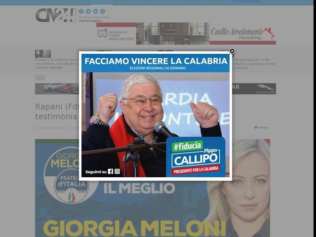 Rapani (FdI): Giorgia Meloni a Corigliano Rossano testimonia l'impegno per il Sud