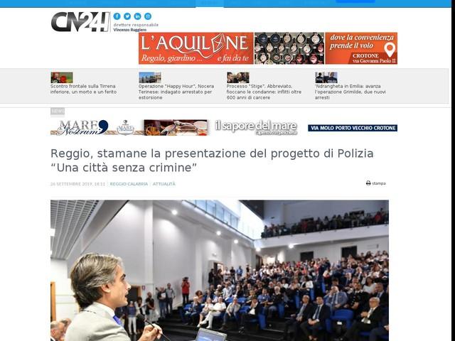 """Reggio, stamane la presentazione del progetto di Polizia """"Una città senza crimine"""""""