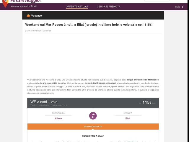 Weekend sul Mar Rosso: 3 notti a Eilat (Israele) in ottimo hotel e volo a/r a soli 115€!