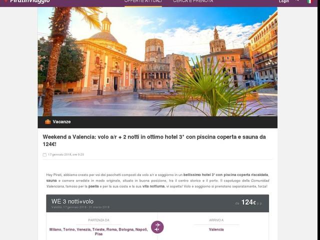 Weekend a Valencia: volo a/r + 2 notti in ottimo hotel 3* con piscina coperta e sauna da 124€!