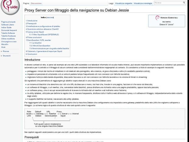 Proxy Server con filtraggio della navigazione su Debian Jessie