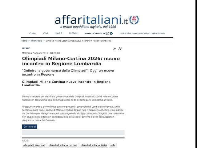 Milano, incontro per definire la governance delle Olimpiadi