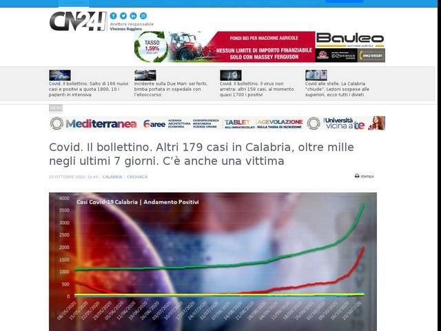 Covid. Il bollettino. Altri 179 casi in Calabria, oltre mille negli ultimi 7 giorni. C'è anche una vittima
