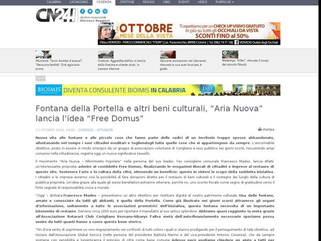 """Fontana della Portella e altri beni culturali, """"Aria Nuova"""" lancia l'idea """"Free Domus"""""""