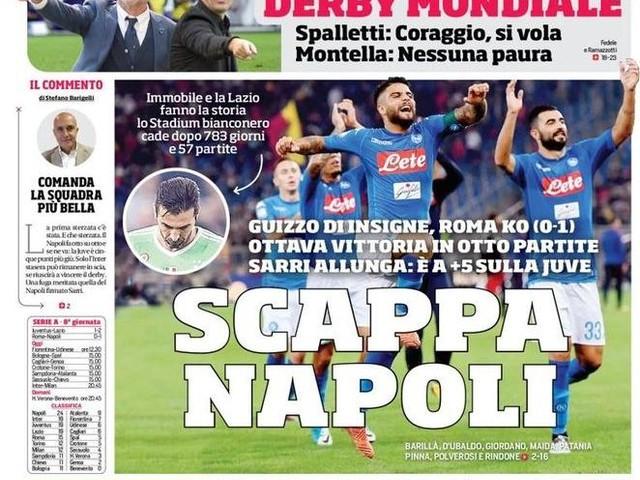 """PRIME PAGINE / I quotidiani sportivi celebrano il Napoli: """"Gli azzurri in fuga!"""""""
