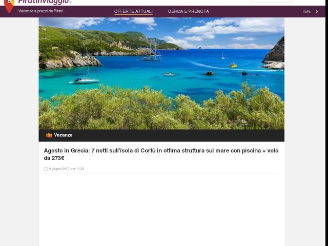 Agosto in Grecia: 7 notti sull'isola di Corfù in ottima struttura sul mare con piscina + volo da 273€