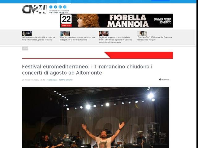 Festival euromediterraneo: i Tiromancino chiudono i concerti di agosto ad Altomonte
