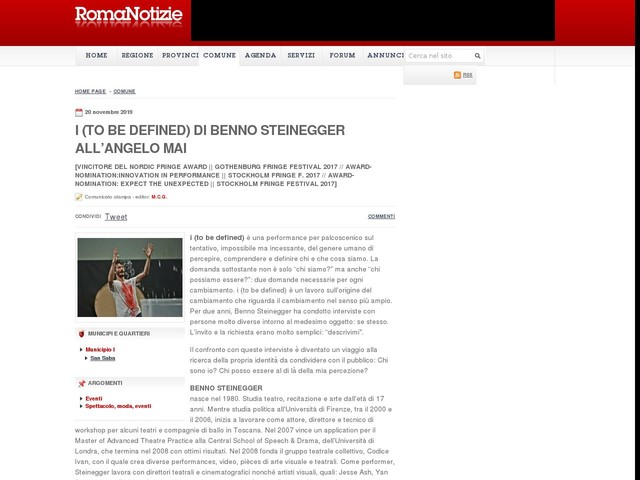 I (to be defined) di Benno Steinegger all'Angelo Mai