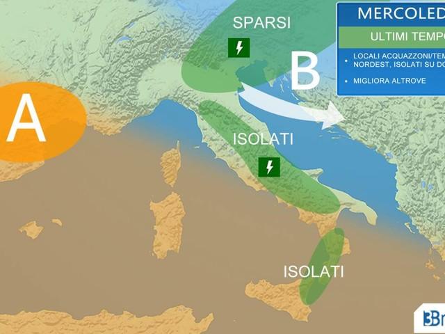 Meteo Italia - mercoledì ULTIMI TEMPORALI, calo termico sulle adriatiche