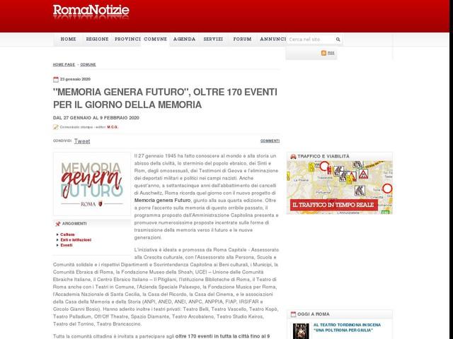 """""""Memoria genera Futuro"""", oltre 170 eventi per il Giorno della Memoria"""