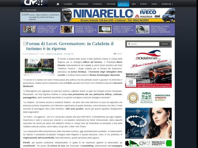 Forum di Locri. Governatore: in Calabria il turismo è in ripresa