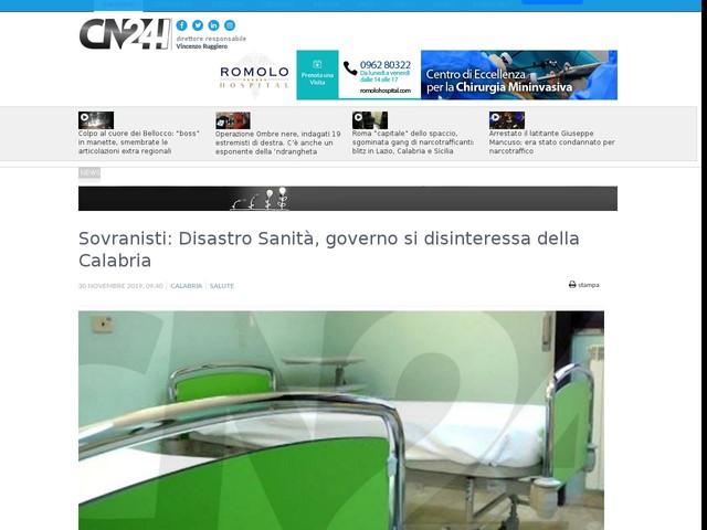 Sovranisti: Disastro Sanità, governo si disinteressa della Calabria