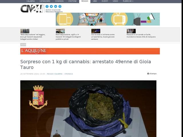 Sorpreso con 1 kg di cannabis: arrestato 49enne di Gioia Tauro