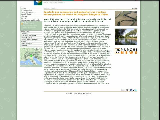 PR Mincio - Sportello per consulenze agli agricoltori che vogliono essere partner del Parco nel Progetto integrato d'area