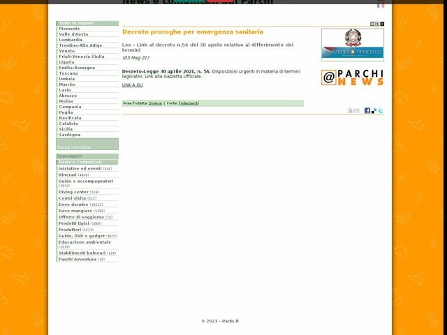 Federparchi - Decreto proroghe per emergenza sanitaria