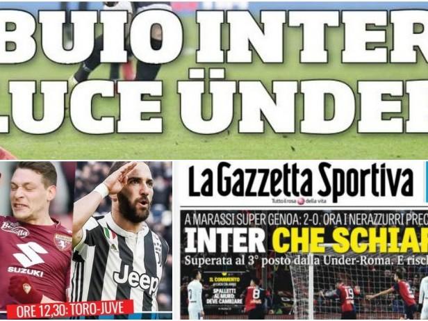 """Buio Inter, luce Ünder"". Toro-Juve: rassegna"