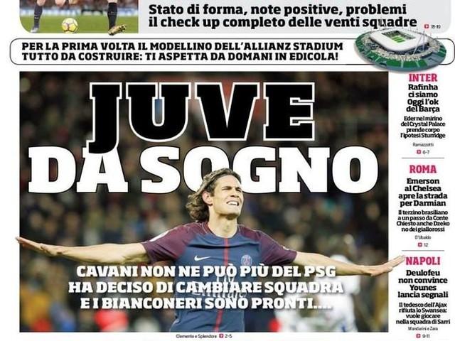 PRIME PAGINE / Cavani via dal PSG, Juve da sogno! Napoli, Deulofeu non convince…