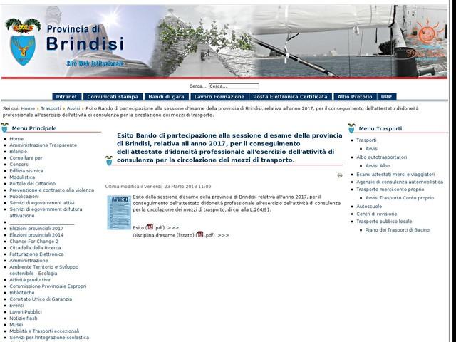 Esito Bando di partecipazione alla sessione d'esame della provincia di Brindisi, relativa all'anno 2017, per il conseguimento dell'attestato d'idoneità professionale all'esercizio dell'attività di consulenza per la circolazione dei mezzi di trasporto.
