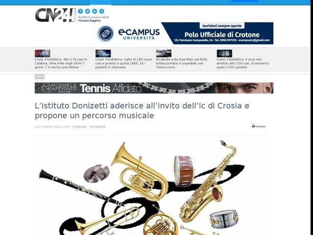 L'Istituto Donizetti aderisce all'invito dell'Ic di Crosia e propone un percorso musicale