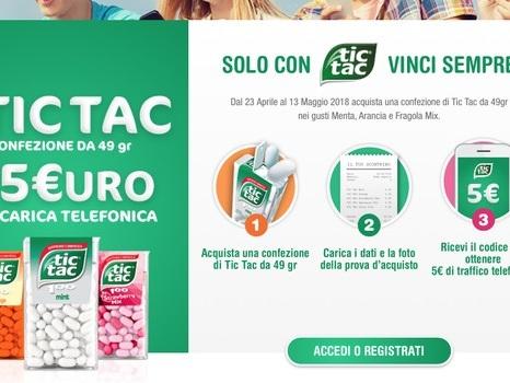 Tic Tac regala una ricarica telefonica da 5 euro dal 23/4 al 13/5