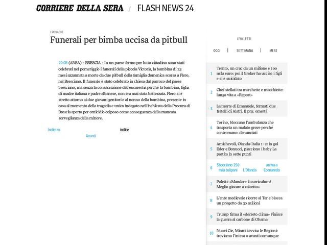 Funerali per bimba uccisa da pitbull