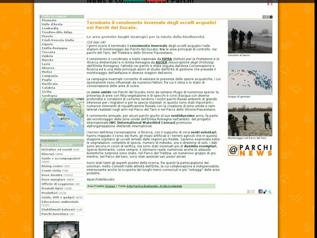 Ente Parchi e Biodiversità - Emilia Occidentale - Terminato il censimento invernale degli uccelli acquatici nei Parchi del Ducato.