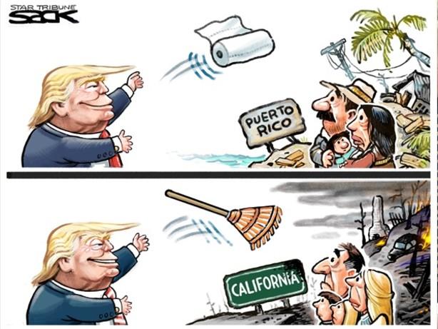 Trump e i mega-incendi: basterebbe rastrellare il sottobosco. #RakeAmericaGreatAgain