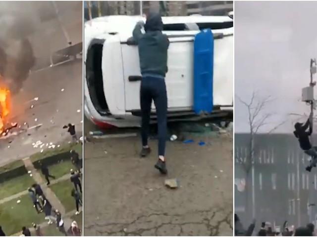 Paesi Bassi, scontri e devastazioni durante le proteste contro le restrizioni: le immagini da Eindhoven