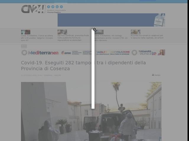 Covid-19. Eseguiti 282 tamponi tra i dipendenti della Provincia di Cosenza