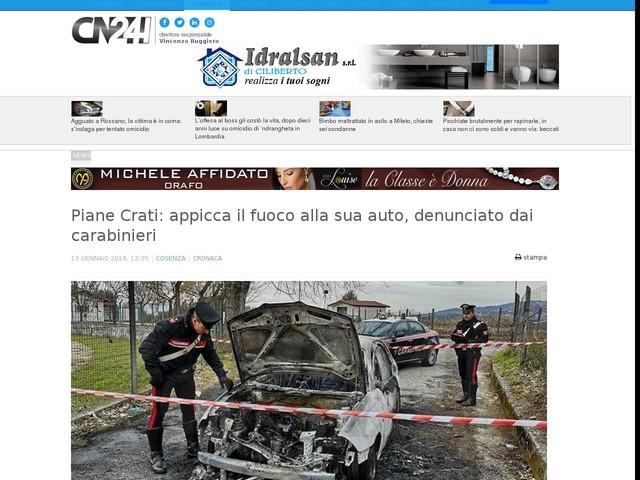Piane Crati: appicca il fuoco alla sua auto, denunciato dai carabinieri
