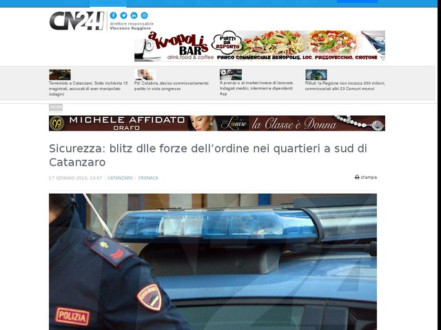 Sicurezza: blitz dlle forze dell'ordine nei quartieri a sud di Catanzaro