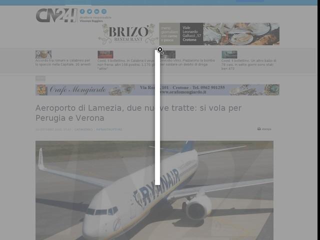 Aeroporto di Lamezia, due nuove tratte: si vola per Perugia e Verona