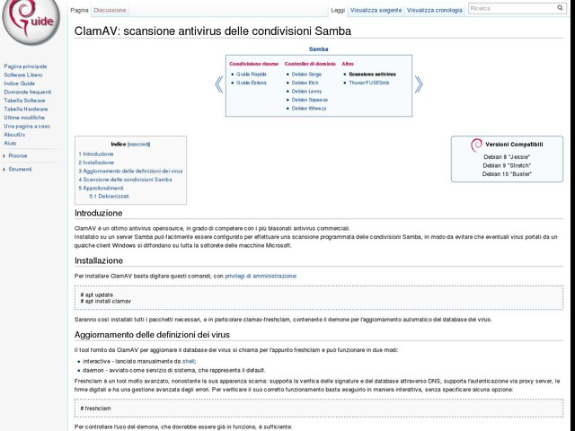 ClamAV: scansione antivirus delle condivisioni Samba