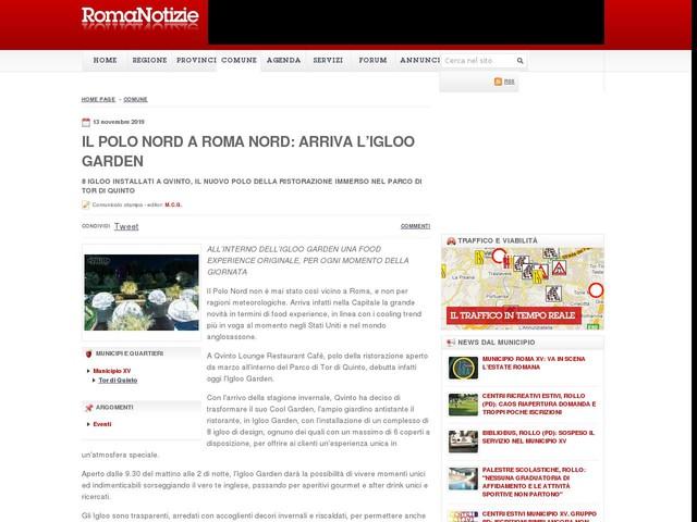 IL POLO NORD A ROMA NORD: ARRIVA L'IGLOO GARDEN
