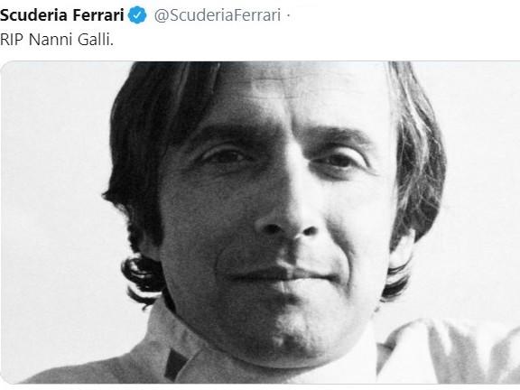 Addio a Nanni Galli, dalle corse (anche in F1) alle maglie della sua azienda